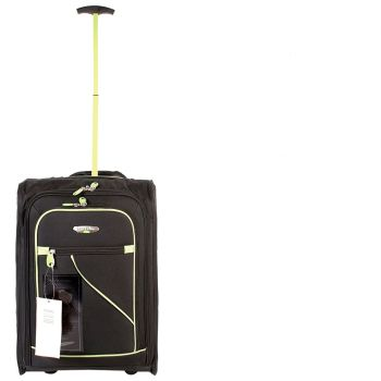 Wheeled Ryanair Cabin Bag Flight Hand Luggage Travel Trolley Suitcase BLK GREEN