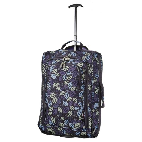 Wheeled Ryanair Cabin Bag Hand Luggage Travel Trolley Suitcase Navy Leaves