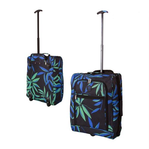 Wheeled Ryanair Cabin Bag Hand Luggage Travel Trolley Suitcase Bamboo Leav