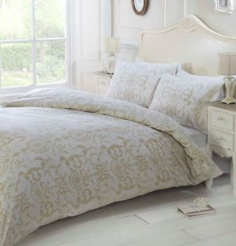 Duvet Cover with Pillow Case Quilt Cover Bedding Set - Damask Natural