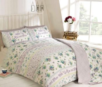 Duvet Cover with Pillow Case Quilt Cover Bedding Set - Rise n Shine Duck Egg