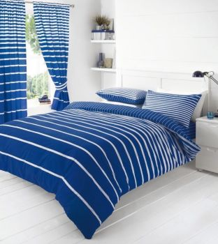 Duvet Cover with Pillow Case Quilt Cover Bedding Set - Linear Blue
