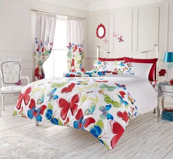 Duvet Cover with Pillow Case Quilt Cover Bedding Set - Butterfly Rainbow
