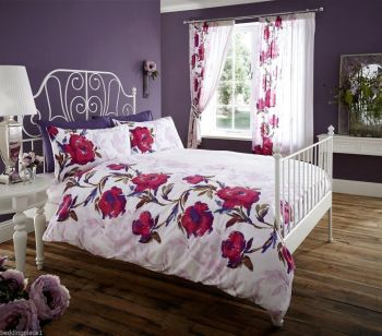 Printed Duvet Cover with Pillow Case Quilt Cover Bed Set - Boho Purple