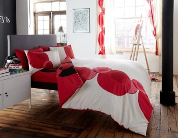 Printed Duvet Cover with Pillow Case Quilt Cover Bed Set - Solo Cream Red