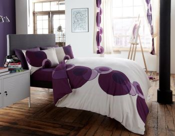 Printed Duvet Cover with Pillow Case Quilt Cover Bed Set - Solo Cream Purple