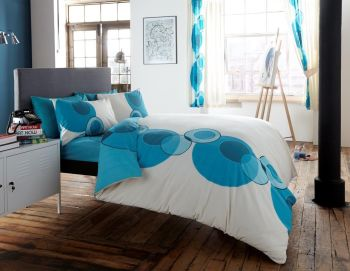 Printed Duvet Cover with Pillow Case Quilt Cover Bed Set - Solo Cream Teal
