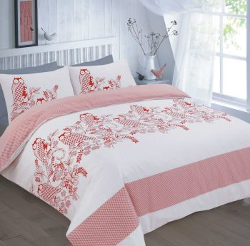 Duvet Cover with Pillow Case Quilt Cover Bedding Set - Owl Red White