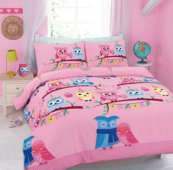 Duvet Cover with Pillow Case Quilt Cover Bedding Set - Owl Pink