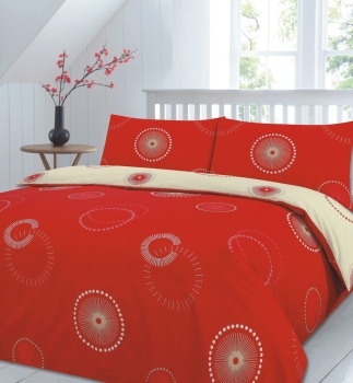 Duvet Cover with Pillow Case Quilt Cover Bedding Set - Eden Red