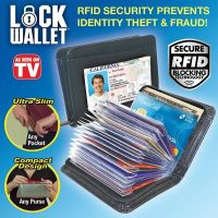 Slim RFID Black Leather Wallet Protect Lock Protection Cyber Theft As Seen on TV