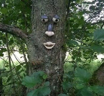 GARDEN TREE FACE NOVELTY GARDEN ORNAMENT DECORATION FUNNY FACE FENCE SHED