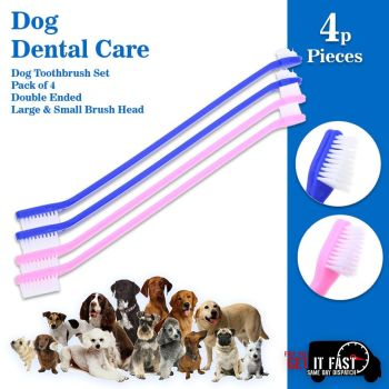 Dog Toothbrush Set Pack of 4 Double Ended Large & Small Brush Head