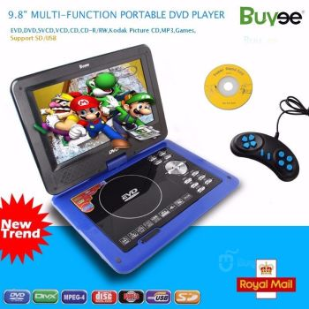 "9.8"" Portable DVD Player Rechargeable Swivel Screen In Car Charger,"