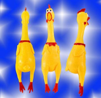 17CM Yellow Screaming Rubber Chicken Pet Dog Toy