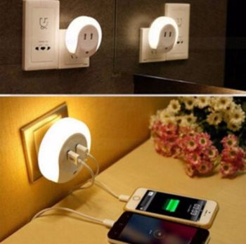 Night Light Plug Lamp Sensor Dual USB Wall LED Light Plate Charger