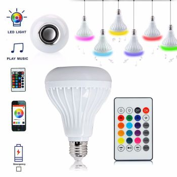 E27 12W LED RGB Wireless Bluetooth Speaker Bulb Light Music Playing Lamp Remote