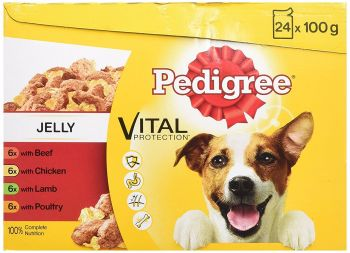 Pedigree Dog Pouches Favourites in Jelly, 24 x 100 g - Pack of 2 (Total 48 Pouches)