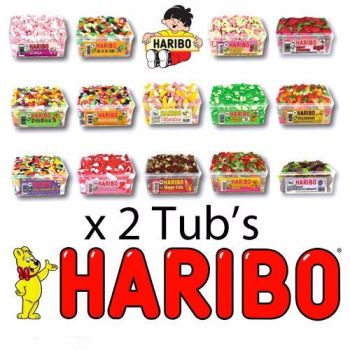 2 FULL TUBS OF HARIBO SWEETS