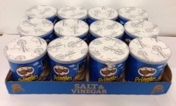 PRINGLES SALT & VINEGAR 40gm TUBS FULL TRAY OF 12 Pots