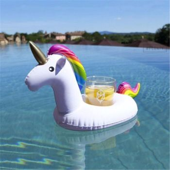 Inflatable Unicorn Water Float Bottle Cup Drink Holder