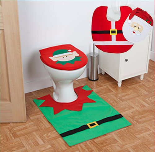 Santa Clause / Elf Toilet Seat Cover & Floor Mat Bathroom