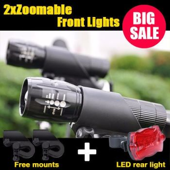 2 X CREE Q5 LED Mountain Bike Bicycle Cycle Zoomable Front Lights +Rear Lamp Set