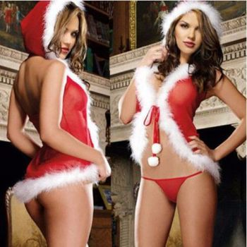 Christmas Underwear Women's Sexy Lingerie Red Babydoll