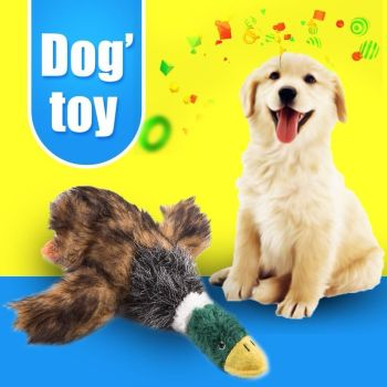 Pet Dog Puppy Stuffed Plush Duck Shape Honking Chew Bite Play Squeaky Toy