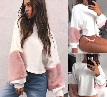 Long Sleeve Sweater Pullover Crop Tops