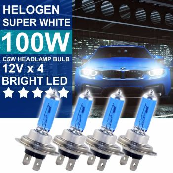 4X H7 HELOGEN 100W BULBS DIPPED BEAM 12V HEADLIGHT HEADLAMP LIGHT