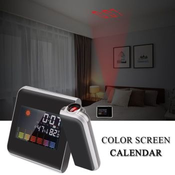 Digital Projection Alarm Clock LED Weather LCD Snooze Color Display w/ Backlight
