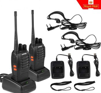 2x Baofeng Walkie Talkies 2 way Radio Long Range UHF 400-470MHZ 16CH Earpiece