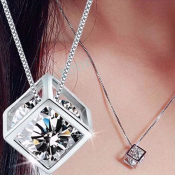 925 Sterling Silver Chain Crystal Rhinestone Pendant Necklace