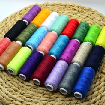 24 Colour 100% Cotton Reel Spools Quality Sewing Yarn Pure All Purpose Thread