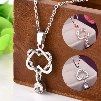 925 Silver Plate Double Heart Pendant Necklace Chain - Offer - Was £11.99