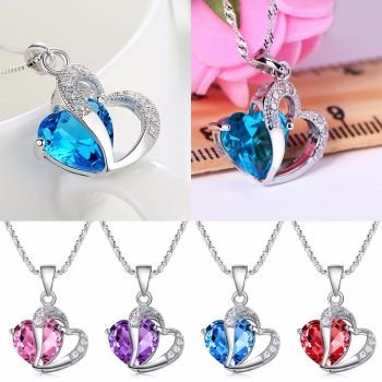 Women Pendant Jewelry Crystal Heart 925 Sterling Silver Necklace+Chain Offer - Was £13.99