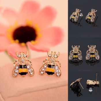 Bumble Bee Gold Crystal Gem Stud - OFFER - Was £8.99