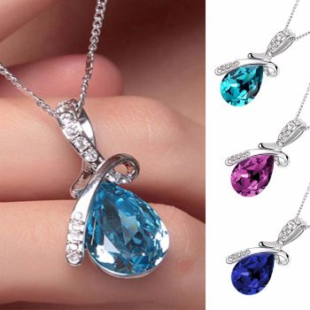Silver Chain Crystal Rhinestone Pendant Necklace - OFFER - Was £12.99