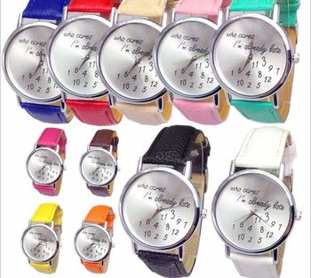 Who Cares I'm Already Late Stainless Steel Quartz Watch