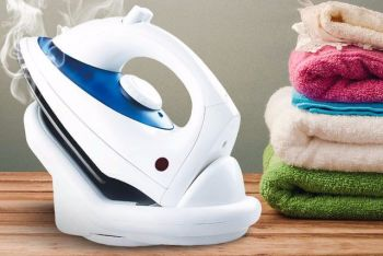 Cordless Steam Iron Water Spray Adjustable Temperature Water Tank Non Stick Dry