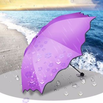 Umbrella Ladies Magic Flower Dome Folding Windproof Anti-uv Sun Rain