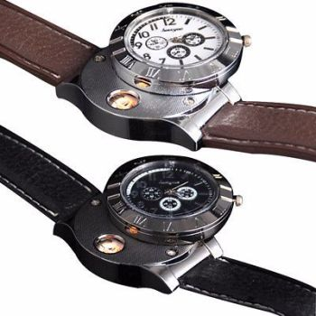 Men Wristwatch with USB Rechargeable Electric Windproof Cigarette Lighter Watch