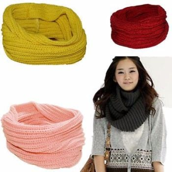 Circle Warm Infinity Neck Scarf Cable Women Winter Shawl Knit Cowl New