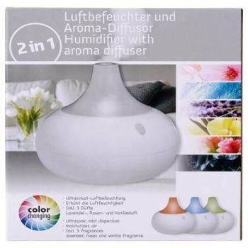 2 IN 1 LED AIR HUMIDIFIER WITH SCENT AROMA DIFFUSOR COLOUR CHANGING ULTRASOUND