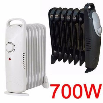 700W OIL FILLED RADIATOR PORTABLE ELECTRIC THERMOSTAT 6 FIN HEATER COMPACT