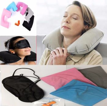 INFLATABLE TRAVEL PILLOW HEAD NECK REST CUSHION SUPPORT EYE MASK EARS PLUGS