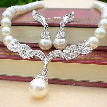Necklace Set Pearl Rhinestone - Reduced From £15