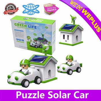Puzzle-Solar-Car-House-Kit-Rechargeable-Toy-DIY-Educational-Science-Kids