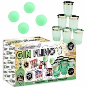 GIN FLING 16PC ADULTS PARTY PING PONG DRINKING GAME